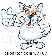 Clipart Illustration Of A Peaceful Terrier Smiling And Gesturing The Peace Sign by Dennis Holmes Designs