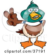 Clipart Illustration Of A Peaceful Mallard Duck Smiling And Gesturing The Peace Sign