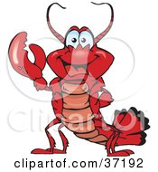 Clipart Illustration Of A Peaceful Lobster Smiling And Gesturing The Peace Sign by Dennis Holmes Designs