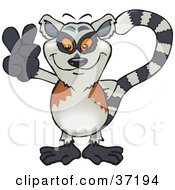 Clipart Illustration Of A Peaceful Lemur Smiling And Gesturing The Peace Sign by Dennis Holmes Designs