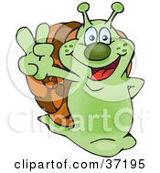 Peaceful Green Snail Smiling And Gesturing The Peace Sign