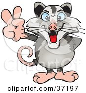 Clipart Illustration Of A Peaceful Opossum Smiling And Gesturing The Peace Sign by Dennis Holmes Designs