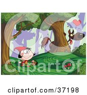 Clipart Illustration Of A Bad Wolf Watching Little Red Riding Hood From Behind A Tree In A Forest by Hit Toon