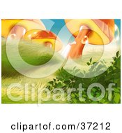 Clipart Illustration Of A Lower View Of Windblown Grass Plants And Dew Covered Orange Mushrooms In Sunlight by dero