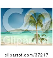 Clipart Illustration Of Clear Blue Waters Washing Up On A White Sandy Beach With Palm Trees An Island In The Distance by dero