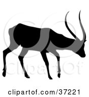 Clipart Illustration Of A Black Silhouette Of A Walking Antelope In Profile