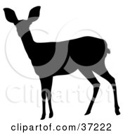 Clipart Illustration Of A Black Silhouette Of An Alert Doe by dero #COLLC37222-0053