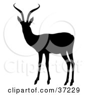 Clipart Illustration Of A Black Silhouetted Alert Antelope With Curvy Antlers