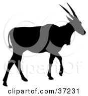 Clipart Illustration Of A Black Silhouetted Walking Antelope