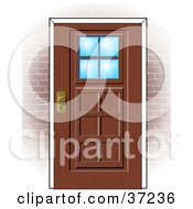 Wooden Door With Windows In A Brick Home