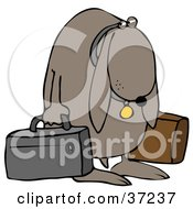 Clipart Illustration Of A Sad Dog Sulking And Carrying Two Bags After Being Kicked Out Of His Home