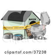Clipart Illustration Of A Confused Gray Dog Standing Outside His Foreclosed House