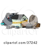 Clipart Illustration Of A Pushy Dog Kicking Another Out Of His Foreclosed House