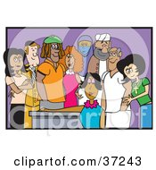 Clipart Illustration Of A Diverse And Cultural Group Of Adult Friends