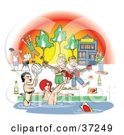 Clipart Illustration Of A Frat House Pool Party With Women And Liquor by Andy Nortnik