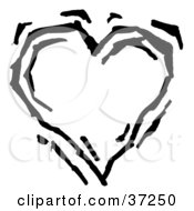 Clipart Illustration Of A Beating Black And White Heart by Andy Nortnik