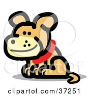Clipart Illustration Of A Smiling Brown Dog Wearing A Red Collar
