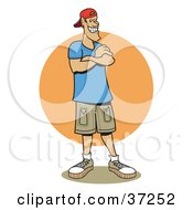 Clipart Illustration Of A Friendly Caucasian Man Standing With His Arms Crossed