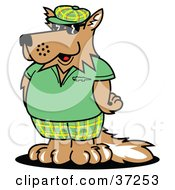 Clipart Illustration of a Cool Dog In Green Golf Clothes by Andy Nortnik