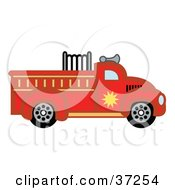 Clipart Illustration Of A Red Fire Truck In Profile by Andy Nortnik