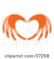 Orange Hands Coming Together To Form A Heart