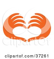 Clipart Illustration Of A Pair Of Orange Red Hands Forming The Shape Of A Heart by Andy Nortnik