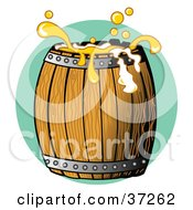 Golden Beer Splashing Over The Top Of A Wooden Barrel