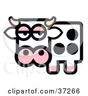 Clipart Illustration Of A Black And White Spotted Dairy Cow With Horns Gazing At The Viewer