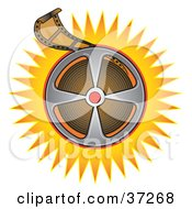 Clipart Illustration Of A Film Reel On An Orange Burst