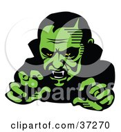 Clipart Illustration Of A Vampire Baring His Fangs And Moving Forward In Green Lighting by Andy Nortnik