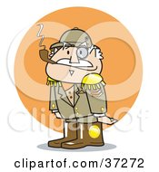 Clipart Illustration Of A Short And Grumpy General In Uniform Smoking A Pipe by Andy Nortnik