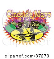 Clipart Illustration Of A Silhouetted Couple Dancing On Cinco De Mayo