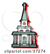 Clipart Illustration Of A White Church With A Clock Tower And Green Roof by Andy Nortnik