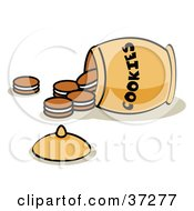 Clipart Illustration Of A Tipped Over Jar With Cookies Spilling Out by Andy Nortnik