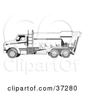 Clipart Illustration Of A White Concrete Truck With A Ladder On The Side