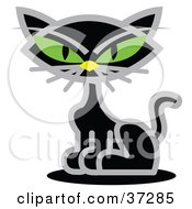 Clipart Illustration Of A Black Cat With Piercing Green Eyes