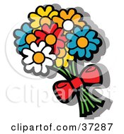 Clipart Illustration Of A Bouquet Of Yellow Blue Red And Orange Flowers Tied With A Red Bow