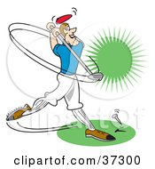 Clipart Illustration Of A Male Golfer Swinging A Club by Andy Nortnik