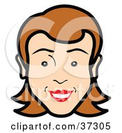 Clipart Illustration Of A Friendly Womans Face With Red Lipstick