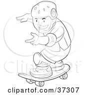 Clipart Illustration Of A Black And White Outline Of A Boy Wearing Safety Pads And A Helmet While Skateboarding by YUHAIZAN YUNUS