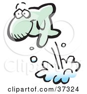 Clipart Illustration Of A Happy Green Fish Leaping High Out Of Water by Johnny Sajem