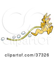 Clipart Illustration Of A Fast Kangaroo Hopping Past And Dragging A Tape Measure Along
