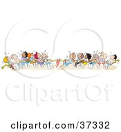 Clipart Illustration Of A Group Of Sweaty Kids Pulling With All Of Their Might During A Game Of Tug Of War