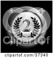 Clipart Illustration Of A Chrome And Gray Second Place Icon Button With Laurels