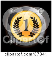 Clipart Illustration Of A Chrome And Yellow First Place Icon Button With Laurels
