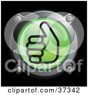 Clipart Illustration Of A Shiny Green Thumbs Up Button Icon