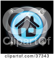 Clipart Illustration Of A Shiny Blue House Button Icon