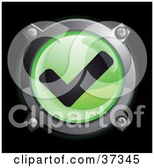 Clipart Illustration Of A Shiny Green Check Mark Button Icon by Frog974 #COLLC37345-0066