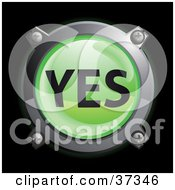 Clipart Illustration Of A Shiny Green Yes Button Icon