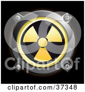 Clipart Illustration Of A Shiny Yellow Radiation Button Icon